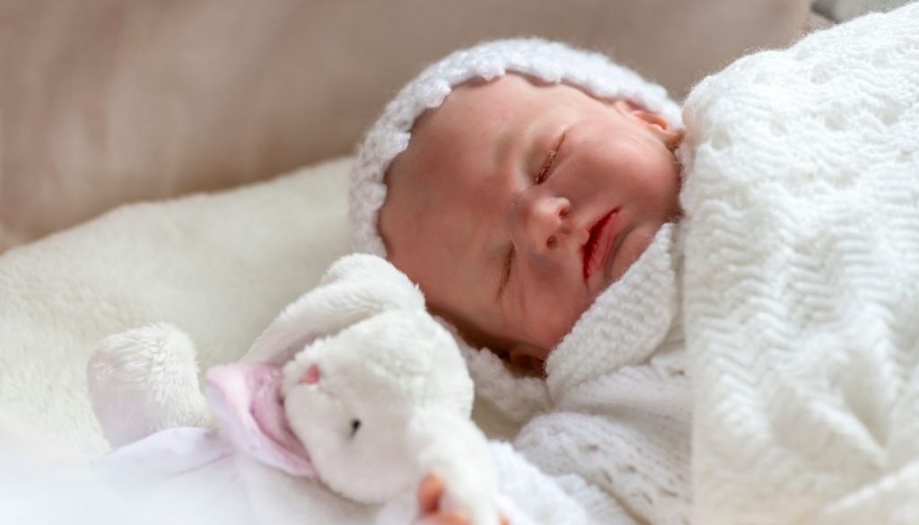An freshly bathed silicone reborn baby.