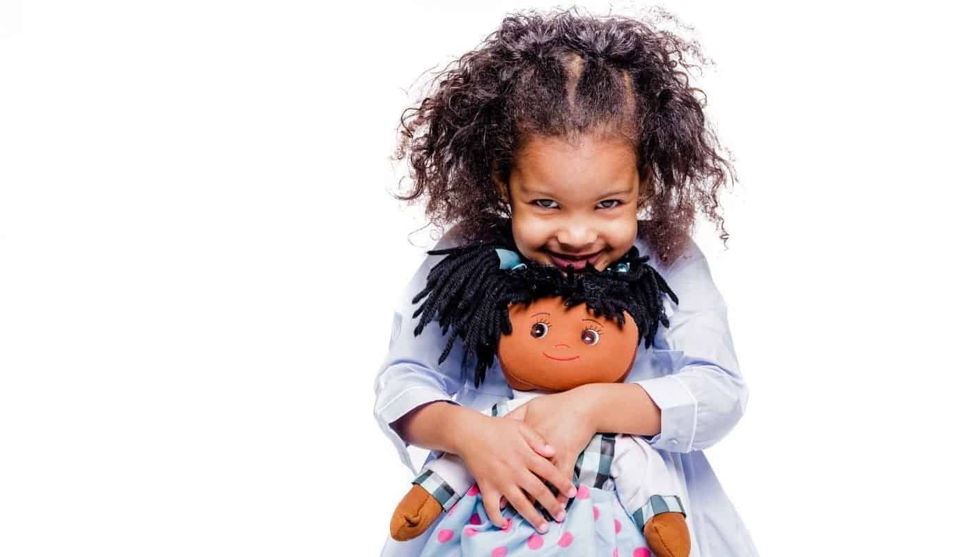 Cute Black Girl With African American Baby Doll