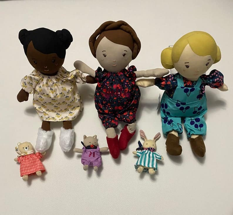 Personalized Rag Doll with Mini Animal Friend
