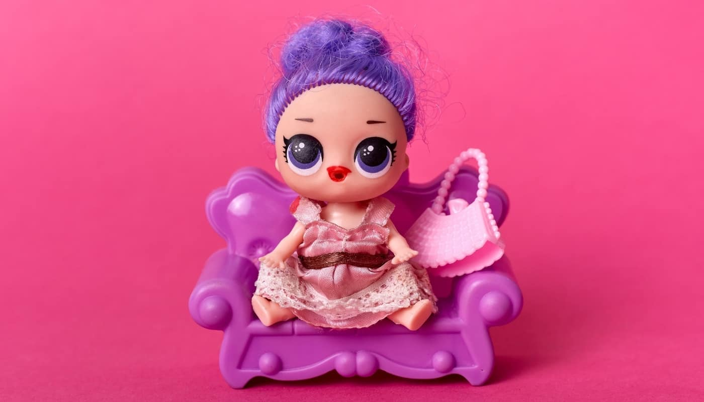 Doll with Big Eyes and Purple Hair