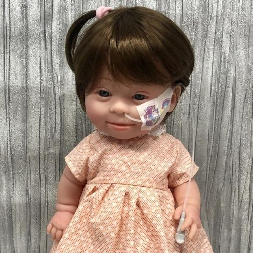 Brown Hair Girl Doll with Down Syndrome and Feeding Tube