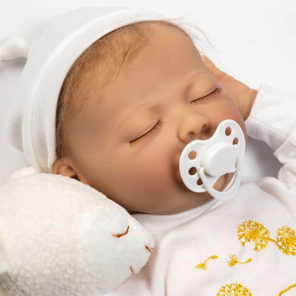 """Paradise Galleries Sleeping Newborn Baby with Magnetic Pacifier, 21"""""""